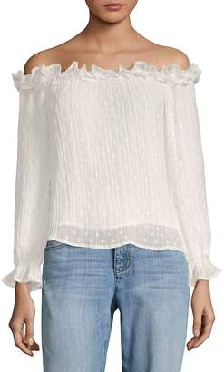 J.o.a. Women's Ruffled Off-The-Shoulder Top