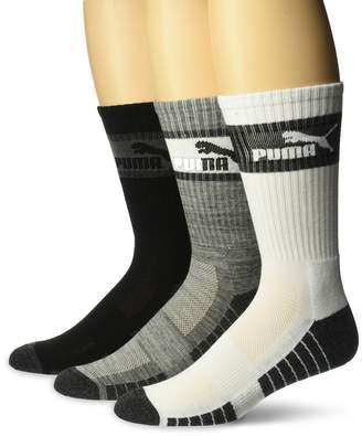 Puma Men's Crew Socks, 3 Pack (10-13, Heather Grey (3ZZ)/White/Dark Grey)
