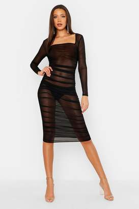 boohoo Tall Mesh Square Neck Bodycon Ruched Dress