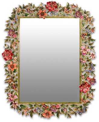 Jay Strongwater Leaf & Flower Mirror