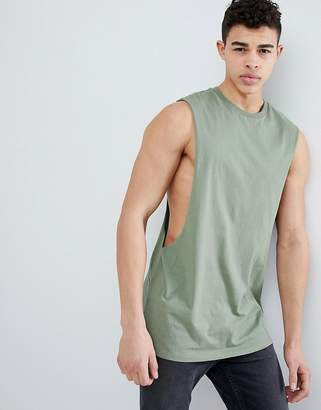 Asos Design DESIGN longline tank with extreme dropped armhole in green