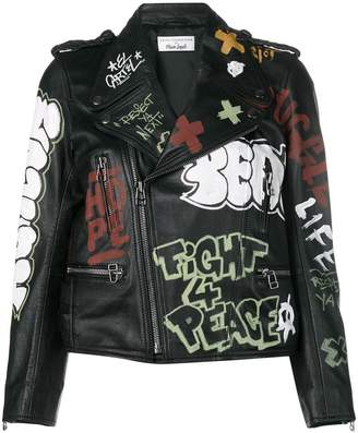 Faith Connexion graffiti print biker jacket