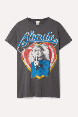 MadeWorn Blondie Distressed Printed Cotton-jersey T-shirt - Charcoal