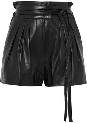 IRO Stable Pleated Leather Shorts - Black