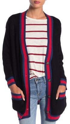 DREAMERS BY DEBUT Stripe Trim Preppy Cardigan