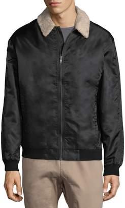 Zanerobe Men's Shearling Collar Bomber Jacket