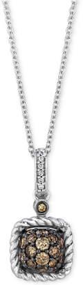 "LeVian Le Vian Chocolatier Diamond Square Cluster 18"" Pendant Necklace (3/8 ct. t.w.) in 14k White Gold"