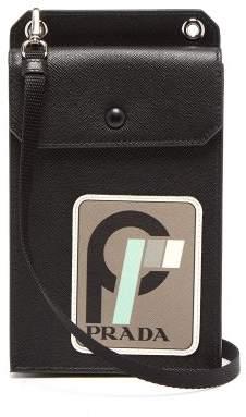 Prada Logo Patch Saffiano Leather Phoneholder - Mens - Black