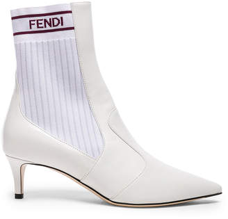 Fendi Leather Rockoko Ankle Boots