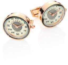 Tateossian Vintage Watch Mechanical Rose Goldplated Stainless Steel Cufflinks