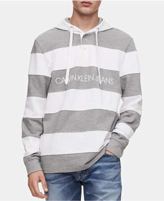 Calvin Klein Jeans Men's Striped Henley Hoodie