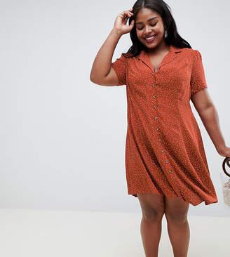 New Look Plus Curve Spotted Tea Dress