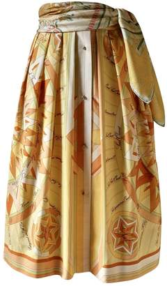 Hermes Yellow Cotton Skirt for Women Vintage