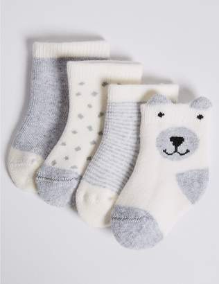Marks and Spencer 4 Pairs of Cotton Rich Baby Socks (0-24 Months)