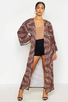 boohoo Leopard Print Maxi Kimono