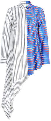Off-White Asymmetric Striped Cotton Blouse