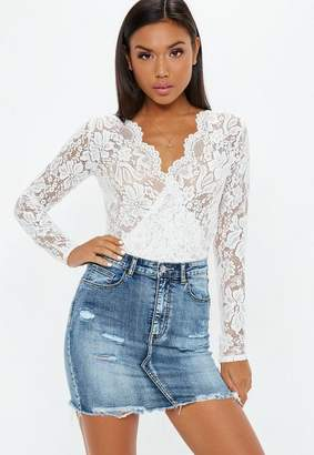 Missguided White Sheer Lace Deep Plunge Wrap Over Bodysuit