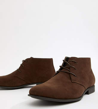 Asos Design DESIGN Wide Fit chukka boots in brown faux suede