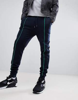Asos DESIGN Skinny Joggers In Navy With Light Green Piping