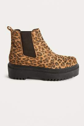Urban Outfitters Brody Leopard Print Platform Chelsea Boot