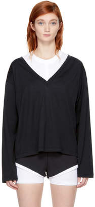 Alexander Wang Black Long Sleeve Deep V T-Shirt