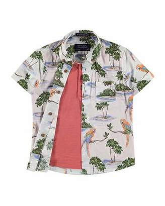 MAYORAL Short-Sleeve Layered Hawaiian Shirt, Red/Multicolor, Size 3-7 $40 thestylecure.com
