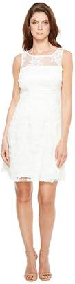 Adrianna Papell Zelda Fringe Embroidered Lace Mesh Fit and Flare Sleeveless Dress Women's Dress