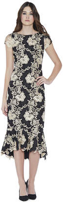 Alice + Olivia Cleora Mid Length Ruffle Fitted Dress