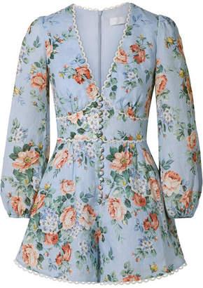 a29babf571 Zimmermann Bowie Crochet-trimmed Floral-print Linen Playsuit - Sky blue