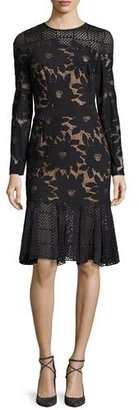 Tadashi Shoji Long-Sleeve Floral Mesh Cocktail Dress, Black/Nude $488 thestylecure.com