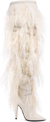 Saint Laurent Era Feather Embellished Velvet Yeti Thigh High Boots