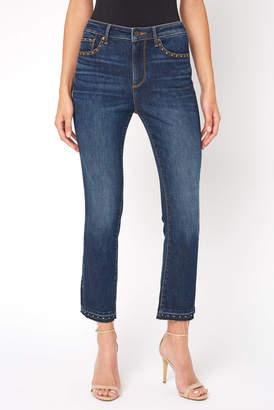 Driftwood Amelia Studded Cropped Straight Leg Jean