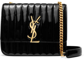 Saint Laurent (サン ローラン) - Saint Laurent - Vicky Large Quilted Patent-leather Shoulder Bag - Black