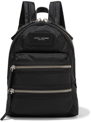 Marc Jacobs - Biker Mini Leather-trimmed Shell Backpack - Black $175 thestylecure.com
