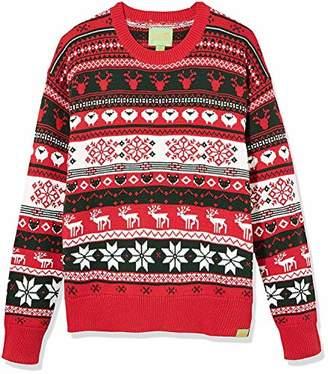 Ugly Fair Isle Unisex Crew Neck Long Sleeve Jacquard Animal Allover X'Mas Sweater XXL Red/White/Deep Green