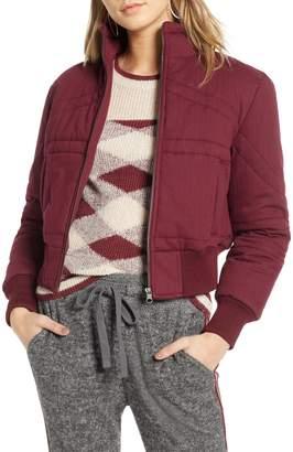 Treasure & Bond Flannel Crop Puffer Jacket