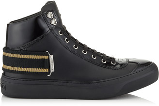 Jimmy Choo ARGYLE Black Sport Calf and Shiny Calf Leather High Top Trainers with Black and Gold Ribbon Detailing