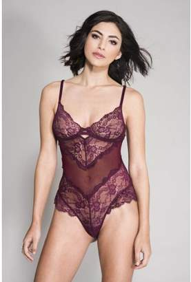 Musiclegs Flower lace and back mesh teddy with underwire cups 80041-BURGUNDY