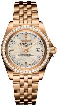 Breitling Rose Gold Galactic Sleek Diamond Bezel Quartz Watch 32mm