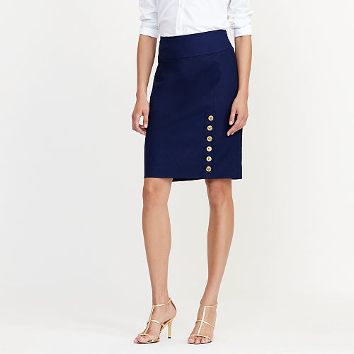 Ralph Lauren Lauren Button-Placket Pencil Skirt