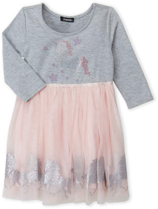 Zunie (Girls 4-6x) 2fer Embellished Unicorn Tutu Dress