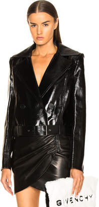 Givenchy Leather Double Breasted Moto Jacket in Black | FWRD