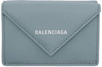 Balenciaga Blue Mini Papier Wallet