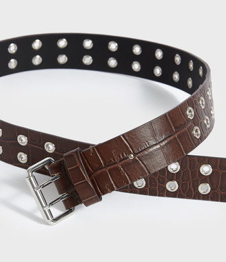 AllSaints Andree Crocodile Leather Belt