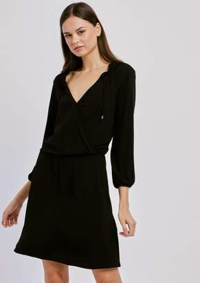 Emporio Armani Viscose Dress With V-Neck And Side Ties