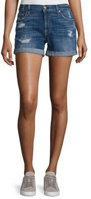 7 For All Mankind Mid-Rise Rolled-Cuff Distressed Denim Shorts, Indigo $169 thestylecure.com