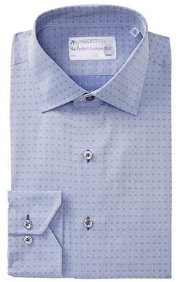Lorenzo Uomo Textured Woven Trim Fit Dress Shirt