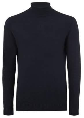 Topman Mens Black. Navy Roll Neck Sweater