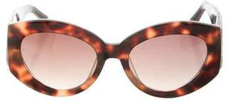 0822644a54bd Pre-Owned at TheRealReal · Linda Farrow Snakeskin-Trimmed Round Sunglasses