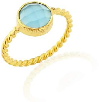 Auree Jewellery - Palma Twisted Yellow Gold Vermeil & Cerulean Ring